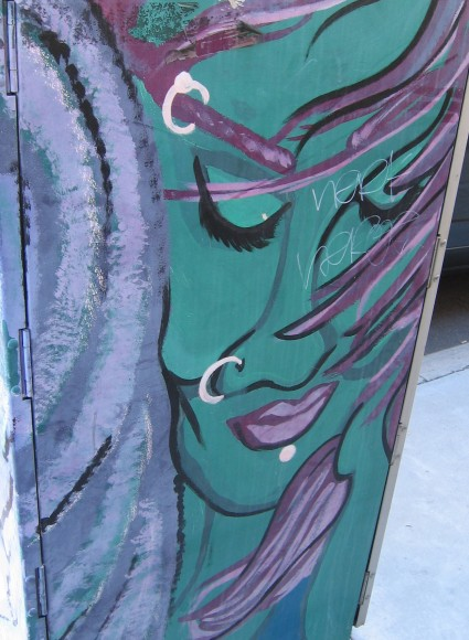 Exotic face on a utility box on Bankers Hill.