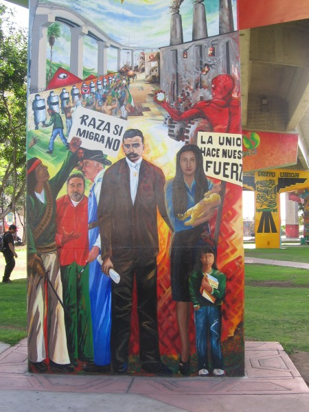 Mural makes political statement about immigration.