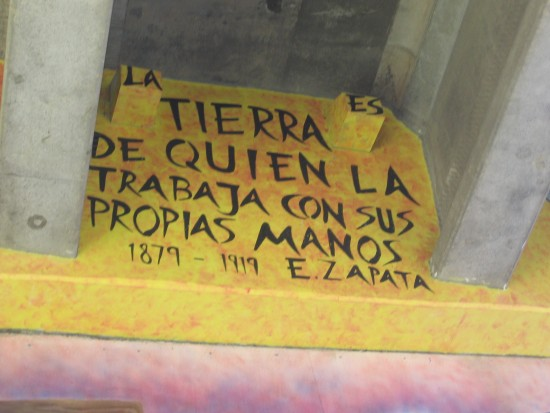 Zapata quote in a high nook.
