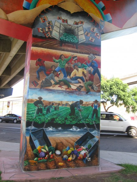 Chicano Park mural shows immigrants working in fields.