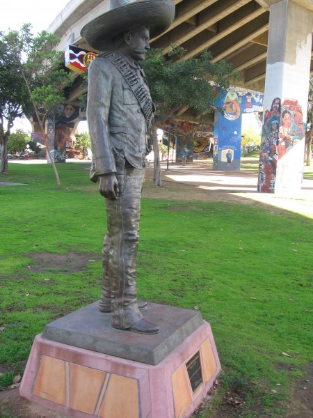 Bronze statue of the Mexican revolutionary soldier Emilio Zapata.