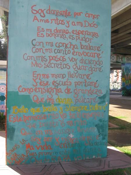 Poem in Chicano Park voices Mexican American pride.