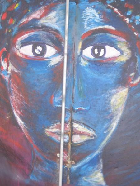 Fourth female face on Chicano Park pillar.