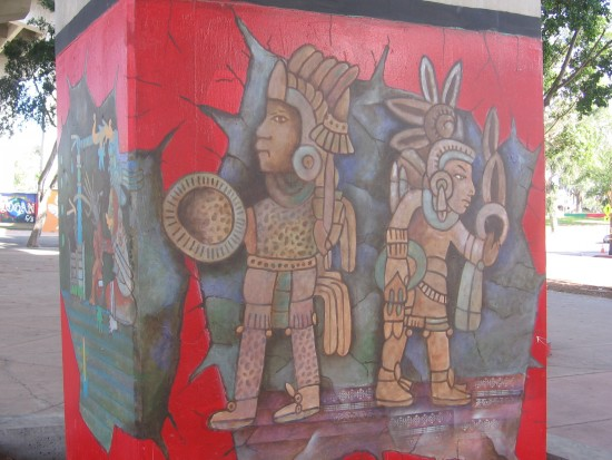 Aztec warriors come alive in Chicano Park.