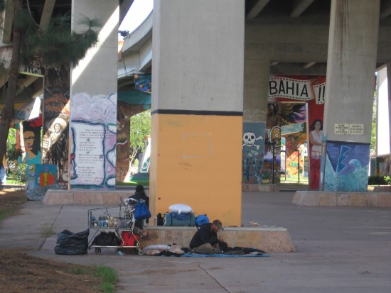 Many who are homeless camp out in Chicano Park.