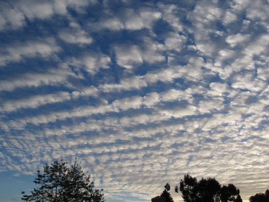 Straight washboard clouds seem unworldly.
