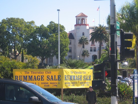Thursday Club Rummage Sale banner on Park Boulevard.