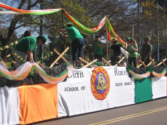 Last minute preparations on a School of Irish Dance float.