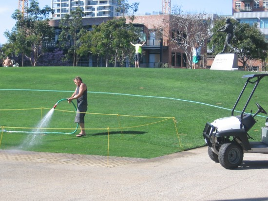 Watering lush new grass at the Park At The Park.