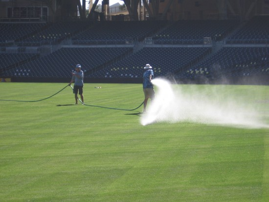 Getting the outfield ready for Opening Day.