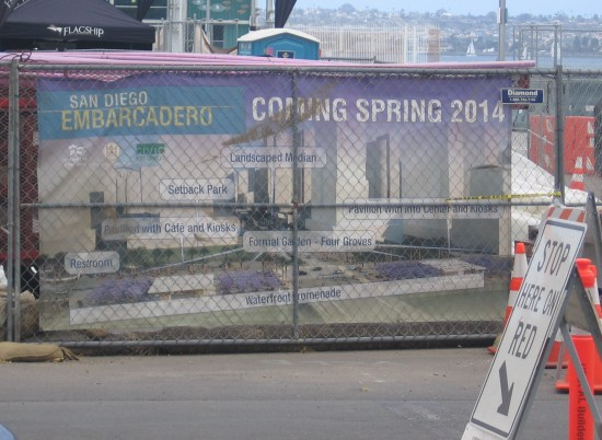 Sign near Broadway Pier describes Embarcadero improvements.