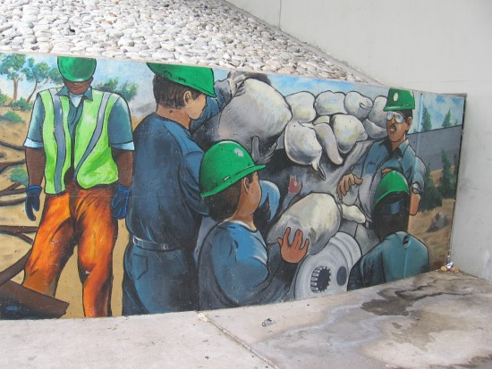 South end of long Urban Corps mural on Jefferson Street.