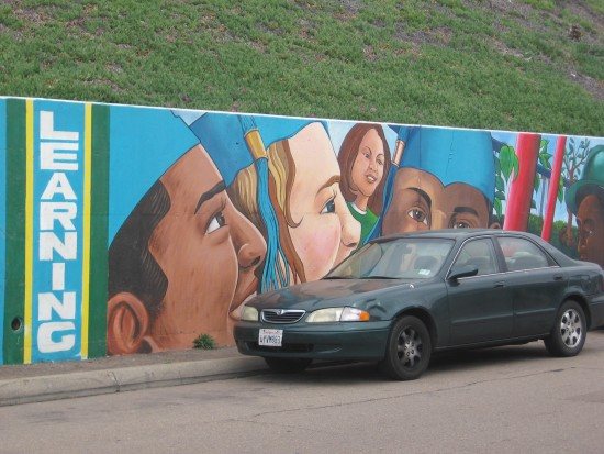 Optimism and opportunity on a long, colorful mural.