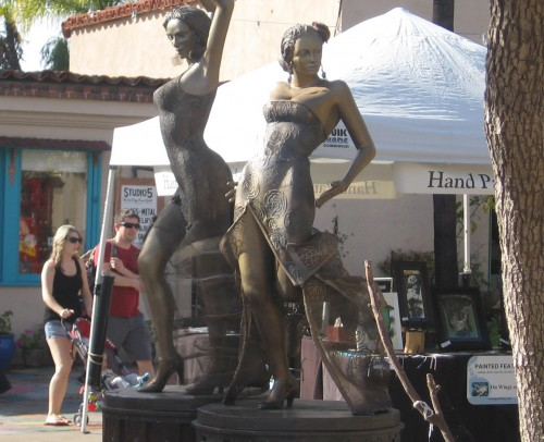 Sculpture of dancers in central courtyard.