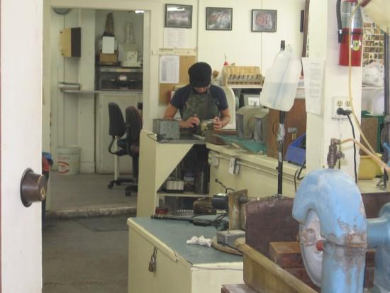 Workshop inside San Diego Mineral and Gem Society building.