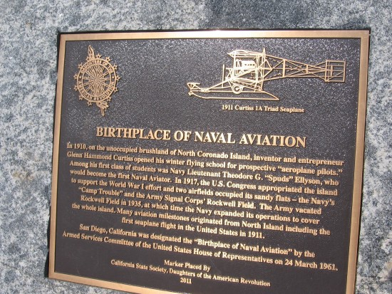 Bronze plaque in Coronado marks birthplace of naval aviation.