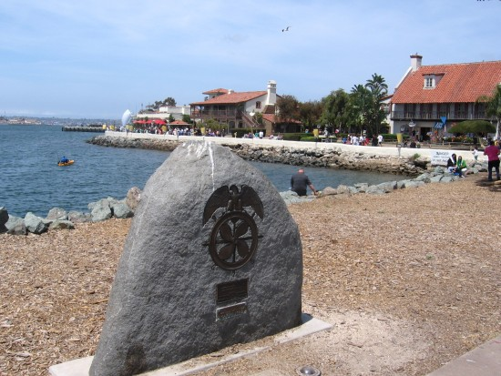 Seaport Village behind merchant seamen memorial.
