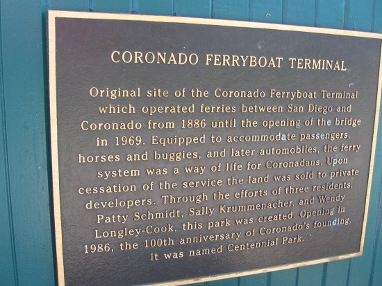 Plaque describes the history of the once vital Coronado ferry.