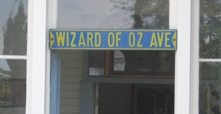 Wizard of Oz Ave sign above front door.