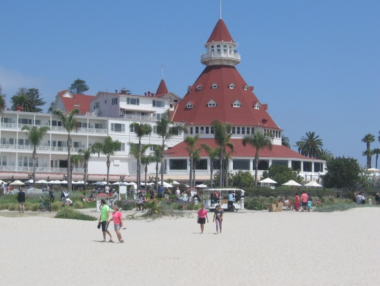 View of the Hotel del Coronado from across the beach.