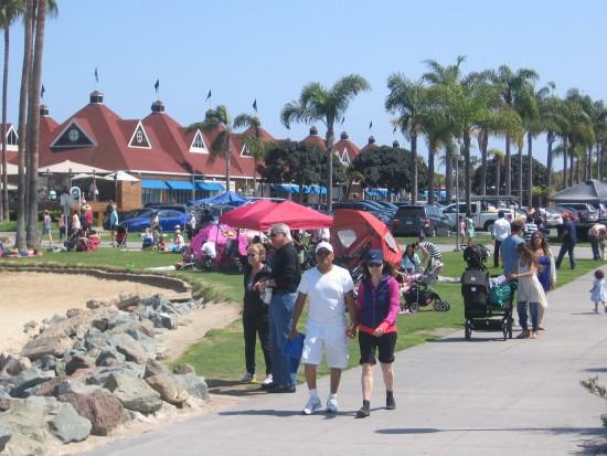 People stroll down a path near the ferry landing.