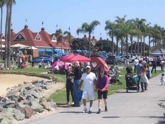 People stroll down a path near the ferry landing.