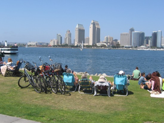 Lounging and enjoying a stunning view of San Diego.