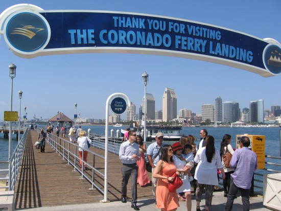 Visitors to the island of Coronado arrive and depart.