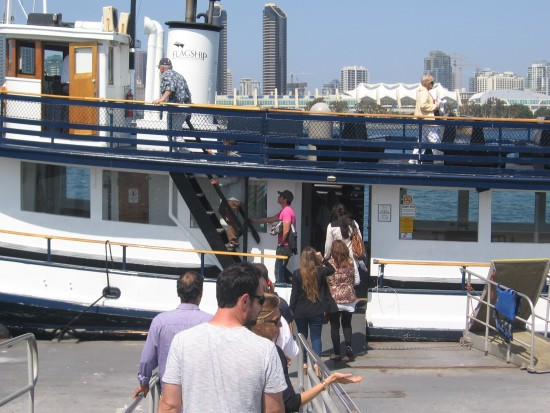 People board the Silvergate ferry for downtown San Diego.