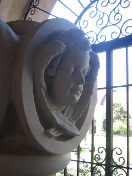 Unused cast concrete replica of an original 1914 angel head finial.  Cast for the 1971 reconstruction of the Casa del Prado.