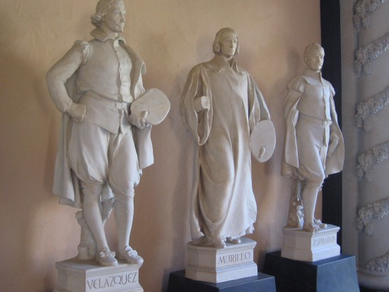 Plaster models of famous 17th century Spanish painters Velazquez, Murillo and Zurbaran.  Used to cast sculptures above what is now the San Diego Museum of Art.