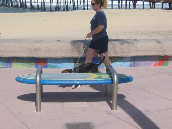 Benches near the pier are made of surfboards!