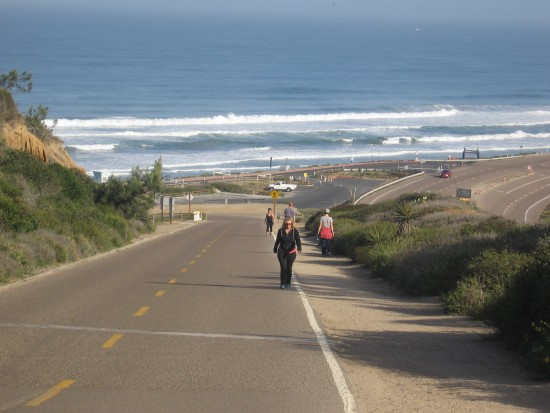 Heading up steep Torrey Pines Park Road.
