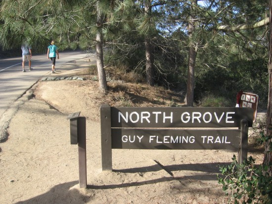 Guy Fleming Trail sign on Torrey Pines Park Road.
