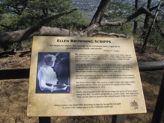Sign about philanthropist Ellen Browning Scripps.