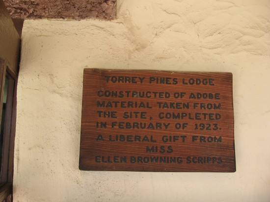 Plaque in Lodge credits Ellen Browning Scripps.