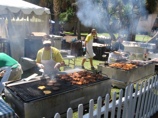 Meat eaters enjoy barbeque for Earth Day.