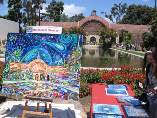 Huge canvas interprets the reflecting pool with vivid colors.