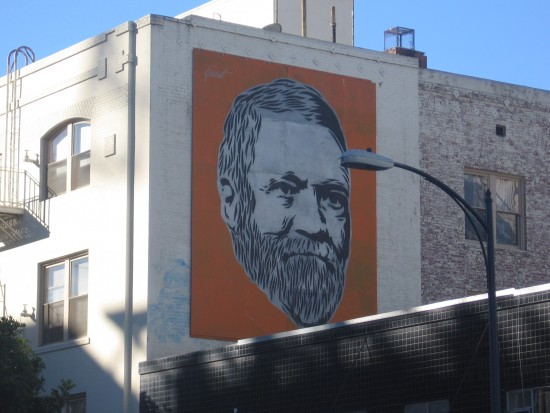 Bearded face painted on a downtown San Diego building.