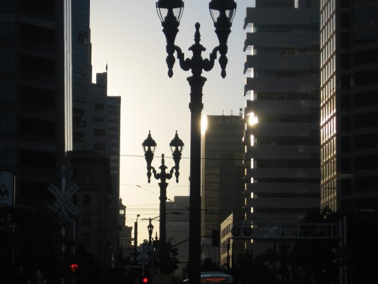 An early morning look down Broadway in San Diego.