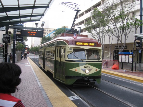 Cool restored Silver Line trolley at Fifth Avenue station.