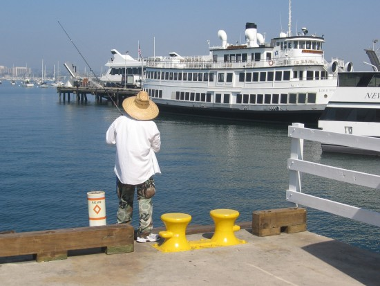 Fishing on the Embarcadero.
