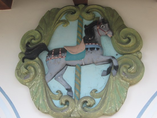 Horse decorates exterior of Seaport Village carousel.