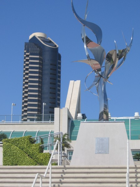 Flame of Friendship sculpture at Convention Center.