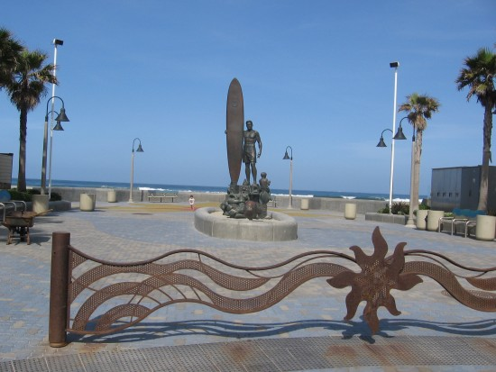 Spirit of Imperial Beach sculpture is north of the pier.