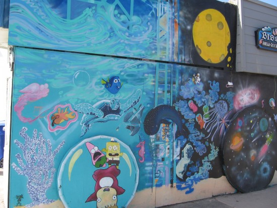 Bibbey's mural includes Finding Nemo and SpongeBob.