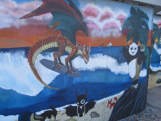 Kung Fu Panda and a surfing dragon!
