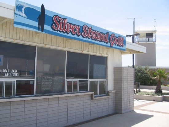 Silver Strand Grill is closed and nobody is about.
