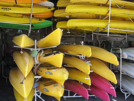 Colorful kayaks at Crown Cove Aquatic Center.