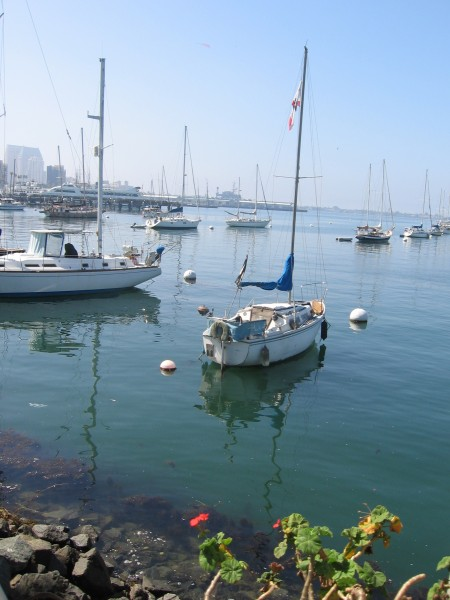 Many people live in small boats on San Diego Bay.